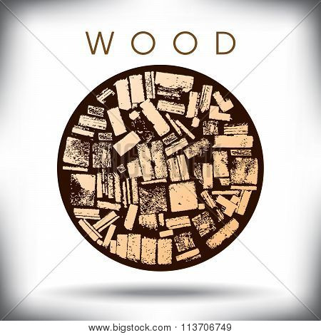 A circle of wood graphic