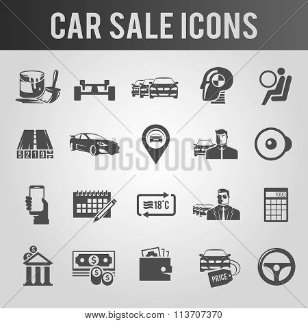 Simple black and white icons set