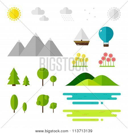 Landscape elements on white background.
