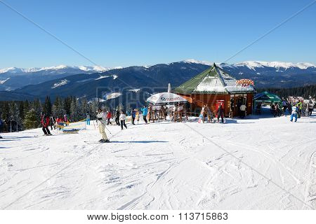 Bukovel, Ukraine - February 17: The Skiers And Restaurant In Bukovel. It Is The Largest Ski Resort I