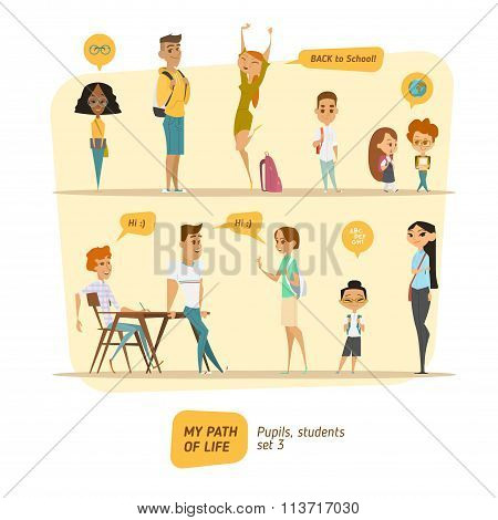 Pupils and students vector set