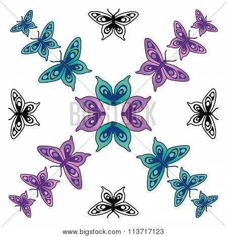 Butterfly pattern turquoise purple