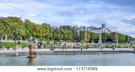 PARISFRANCE -August 12 2014 - Summer day in the Luxemburg garden in Paris France on August 12 2014