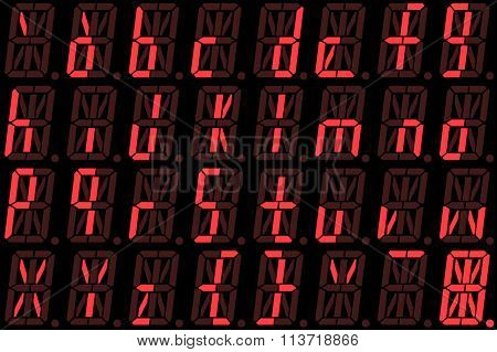 Digital Font From Small Letters On Red Alphanumeric Led Display