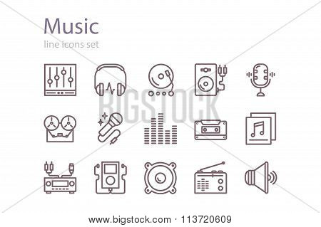 Music icons set. Line art. Stock vector.