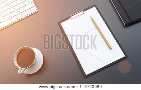 Workplace, Notepad And Coffee