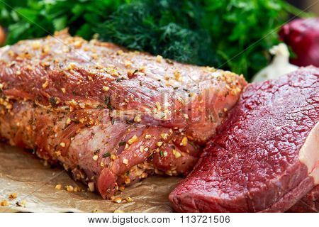 Fresh Pork Carbonade, Beef Steak Meat Marinated And Prepared For Roast With Garlic, Herbs