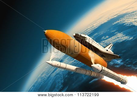 Space Shuttle Solid Rocket Boosters Separation In Stratosphere. 3D Scene. poster