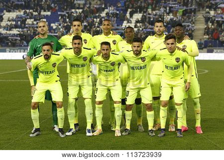 BARCELONA - DEC, 7: Levante UD lineup posing before a Spanish League match against RCD Espanyol at the Power8 stadium on December 7, 2015 in Barcelona, Spain