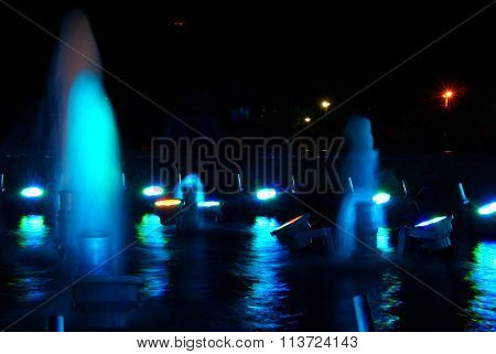 Blue Fountain At Night