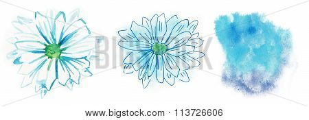 Two watercolour daisies on white background and a watercolour background texture