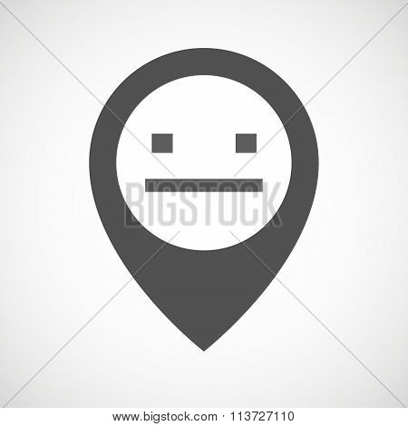 Isolated Map Marker With A Emotionless Text Face