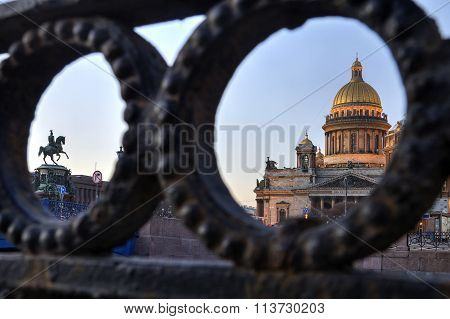 Historic Monuments In St. Isaac's Square In Saint Petersburg, Russia.