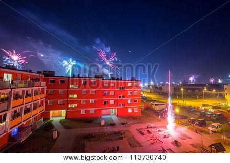 Fireworks display on New Years Eve in Pruszcz Gdanski, Poland