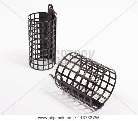 Feeders For Fishing On A White Background.