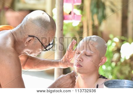 Nakhonnayok-thailand ,july 3 : Shaved Ordained Buddhist Ceremony In Thailand. Thai Man Gets His Head
