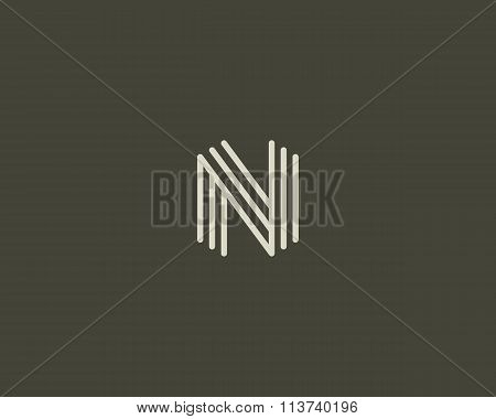 Abstract letter N logo design template. Line creative sign. Universal vector icon.