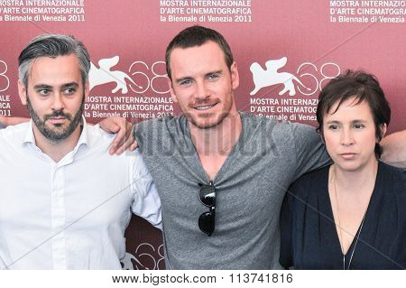 Actors Emile Sherman Michael Fassbender and Abi Morgan
