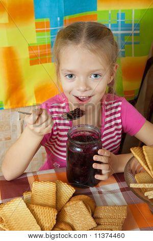 Little Girl Eating Confiture