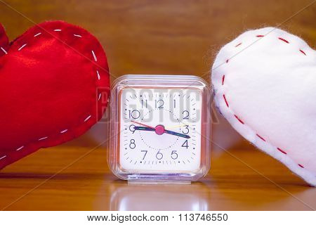 Valentine's Day - Red And White Hearts And A Clock.