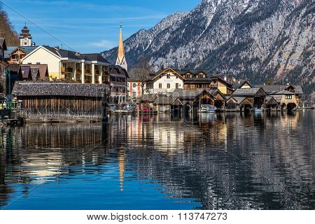 Hallstatt Village And Lake In Alps -austria,europe