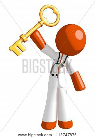 Orange Man Doctor Holding Up Key To Success