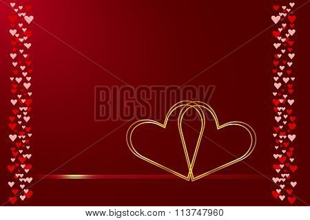 Wedding card of two connected hearts