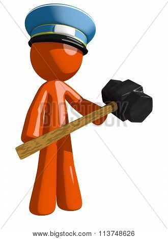 Orange Man Postal Mail Worker Man Holding Giant Sledge Hammer