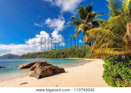 Anse Takamaka beach in Mahe Island, Seychelles