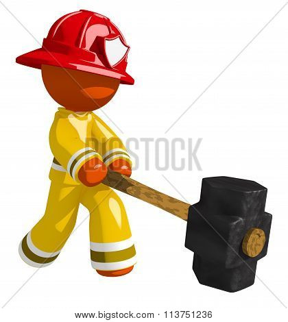 Orange Man Firefighter Hitting With Sledge Hammer