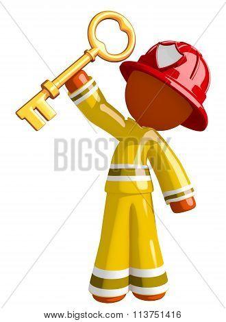 Orange Man Firefighter Holding Huge Key