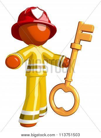 Orange Man Firefighter With Big Damn Key