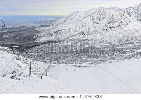 Chair Lifts And Ratrack At A Distance In Kasprowy Wierch In Zakopane