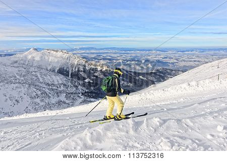 Downhill Skier In Kasprowy Wierch In Zakopane In Tatras In Winter