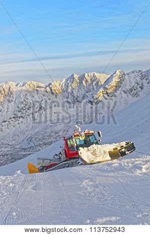 Ratrack At Work In Kasprowy Wierch In Zakopane In The Winter Time