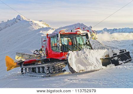 Ratrack At Work In Kasprowy Wierch Of Zakopane In Winter