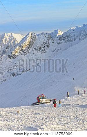 Ratrack At Work In Kasprowy Wierch Peak In Zakopane In The Winter Time