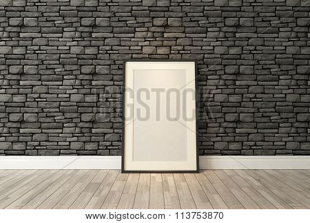 Black Picture Frames Decor With Black Natural Brick Wall, Background, Template Design 3D Rendering