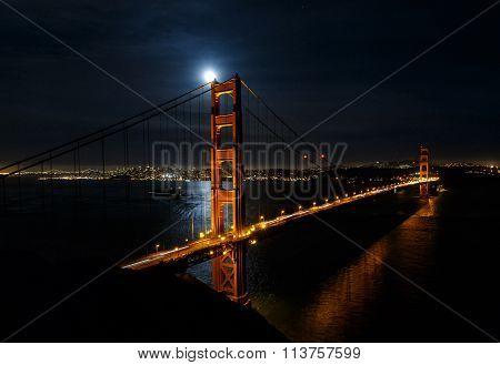 Golden Gate Bridge At Night With San Francisco Cityscape