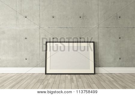 Black Picture Frames Decor With Concrete Wall, Background, Template Design