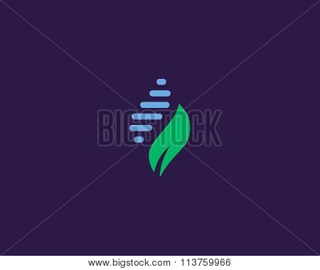 Abstract biotechnology water leaf dna drop logo design. Green energy, medicine, science,  technology
