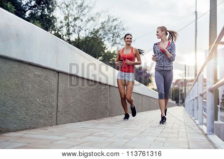 Beautiful Scenery Of Two Female Joggers