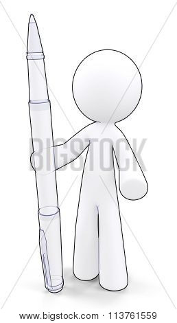 Technical Drawing Render Man Holding Large Pen