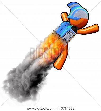 3D Orange Man Rocketeer