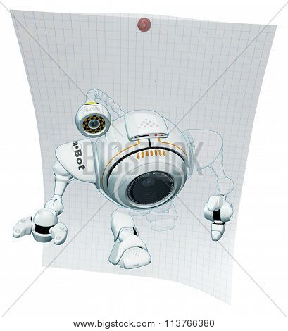 Robot Web Cam Emerging From Graph Paper