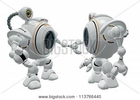 Robot Web Cam Talking To Friend