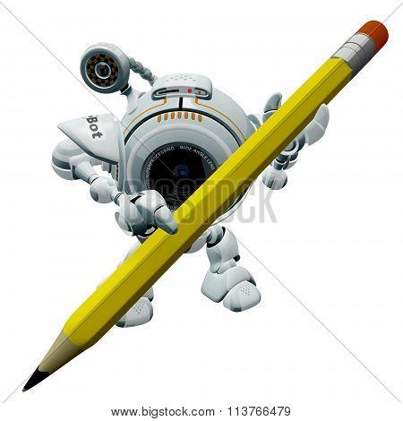 Robot Web Cam Holding Pencil