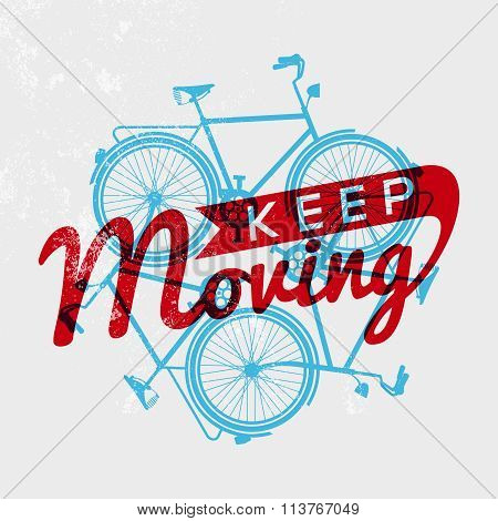 Bike Retro Grunge Outline Concept Motivation