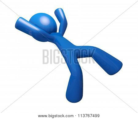 3D Blue Man Falling Down Injury Illustration