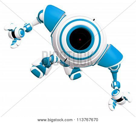 Small Robot Looking Up In Awe
